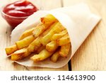 french fries with ketchup | Shutterstock . vector #114613900