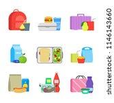 cartoon color school lunch food ... | Shutterstock .eps vector #1146143660