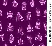 bar neon signs thin line... | Shutterstock .eps vector #1146143723