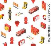 firefighter man and equipment...   Shutterstock .eps vector #1146144200