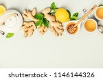 ginger tea with lemon  honey... | Shutterstock . vector #1146144326