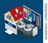 isometric alarm system home.... | Shutterstock .eps vector #1146145910