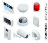 isometric alarm system home.... | Shutterstock .eps vector #1146145913