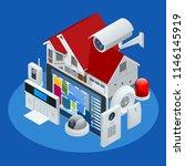 isometric alarm system home.... | Shutterstock .eps vector #1146145919