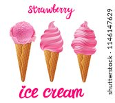 vector set of pink ice cream... | Shutterstock .eps vector #1146147629