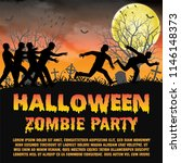 halloween zombie party with...   Shutterstock .eps vector #1146148373