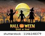 halloween kids in front of... | Shutterstock .eps vector #1146148379