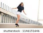 young beautiful blonde girl... | Shutterstock . vector #1146151646