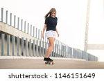 young beautiful blonde girl... | Shutterstock . vector #1146151649