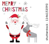 christmas card with cute santa... | Shutterstock .eps vector #1146153593