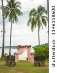 the wedding arch on the green... | Shutterstock . vector #1146158600