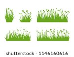 vector green grass  natural ... | Shutterstock .eps vector #1146160616
