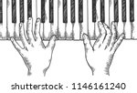 hands and piano keys engraving... | Shutterstock .eps vector #1146161240