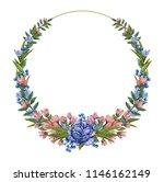 watercolor wreath of flowers.... | Shutterstock . vector #1146162149