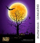 halloween tree full moon... | Shutterstock .eps vector #114616540