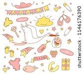 baby shower girl set with stork....   Shutterstock .eps vector #1146176390