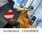 bulldozer  huge yellow powerful ... | Shutterstock . vector #1146184820