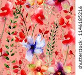 seamless wallpaper with flowers ... | Shutterstock . vector #1146185216