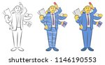 guy with six hands holding... | Shutterstock .eps vector #1146190553
