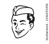 retro portrait of soda jerk boy ... | Shutterstock .eps vector #1146191456