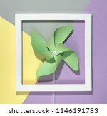 pinwheel and frame on pastel... | Shutterstock . vector #1146191783