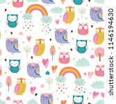 Cute Cartoon Style Owls Vector...