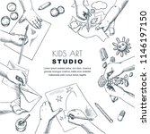 kids art class work process.... | Shutterstock .eps vector #1146197150
