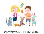 little boy and girl in pet shop.... | Shutterstock .eps vector #1146198833