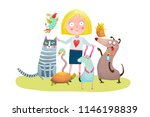 young girl and pet shop. fun... | Shutterstock .eps vector #1146198839