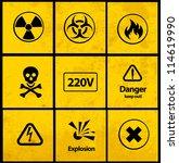warning signs  vector  | Shutterstock .eps vector #114619990