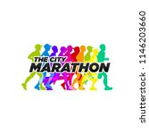 the city marathon run event... | Shutterstock .eps vector #1146203660