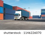 truck with cargo container on... | Shutterstock . vector #1146226070