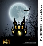happy halloween party house... | Shutterstock .eps vector #114623320