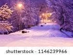 winter snow park alley night... | Shutterstock . vector #1146239966