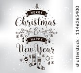 merry christmas. typography.... | Shutterstock .eps vector #1146265400
