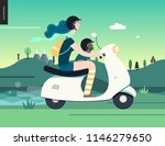 girl on a scooter  flat vector... | Shutterstock .eps vector #1146279650