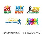 set colorful marathon run event ... | Shutterstock .eps vector #1146279749