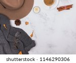 autumn flat lay with hat ... | Shutterstock . vector #1146290306