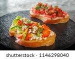 bruschetta with red sweet... | Shutterstock . vector #1146298040