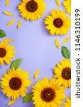 sunflower pattern background on ... | Shutterstock . vector #1146310199
