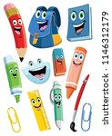 achool supplies cartoon... | Shutterstock .eps vector #1146312179