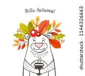 a cute bear with a wreath of... | Shutterstock .eps vector #1146326663