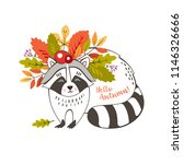 a cute raccoon with a wreath of ... | Shutterstock .eps vector #1146326666