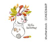 a cute rabbit  hare with a... | Shutterstock .eps vector #1146326669