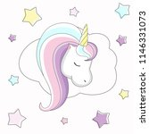 image of a unicorn with stars.... | Shutterstock . vector #1146331073