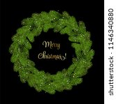 christmas wreath green pine... | Shutterstock .eps vector #1146340880