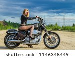 young sexy girl in leather... | Shutterstock . vector #1146348449