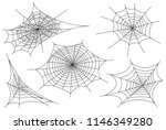 web spider cobweb icons set.... | Shutterstock .eps vector #1146349280