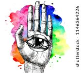human hand and all seeing eye.... | Shutterstock . vector #1146364226