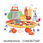 little people making pizza with ... | Shutterstock .eps vector #1146367160